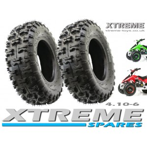 "2 x MINI QUAD BIKE TYRE / MONSTER ATV / GO KART 4.10 - 6"" INCH"