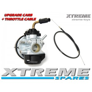 MINI MOTO/ DIRT BIKE/ QUAD PERFORMANCE UPGRADE 15MM CARBURETTOR + THROTTLE CABLE