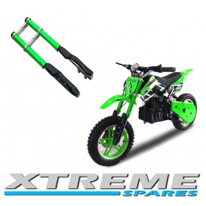 MINI DIRT BIKE COMPLETE GREEN FRONT FORKS SHOCKERS DAMPER WITH YOKES SHOCK
