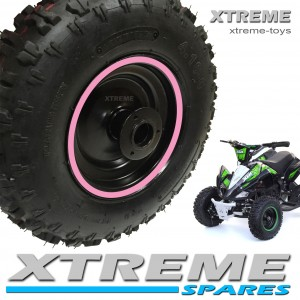 """MINI MOTO QUAD BIKE 4.10-6"""" COMPLETE WHEEL WITH TYRE + INNER TUBE WITH PINK RIM 49 - 50cc"""