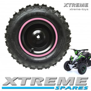 "MINI MOTO QUAD BIKE 5.00-6"" COMPLETE WHEEL WITH TYRE + INNER TUBE WITH PINK RIM 49 - 50cc"