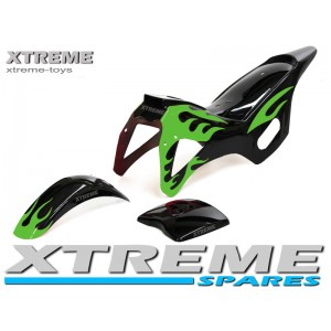 MINI DIRT BIKE BLACK / GREEN PLASTICS FAIRING + MUDGUARD KIT
