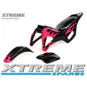 MINI DIRT BIKE BLACK / PINK PLASTICS FAIRING + MUDGUARD KIT