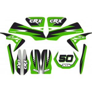 MINI DIRT BIKE XTM CRX 50 STICKER KIT / DECALS / TRANSFERS IN GREEN