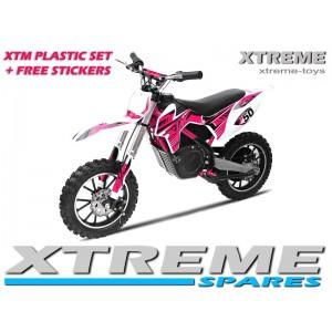 MINI DIRT MOTOR BIKE XTREME XTM FULL PLASTICS KIT + FREE PINK STICKERS KIT SET