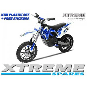 MINI DIRT MOTOR BIKE XTREME XTM FULL PLASTICS KIT + FREE BLUE STICKERS KIT SET