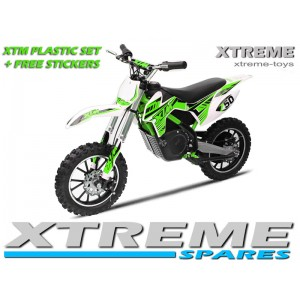 MINI DIRT MOTOR BIKE XTREME XTM FULL PLASTICS KIT + FREE GREEN STICKERS KIT SET