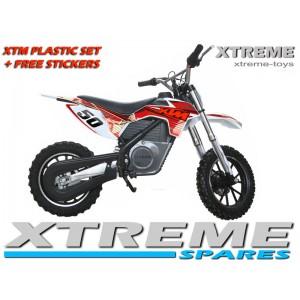 MINI DIRT MOTOR BIKE XTREME XTM FULL PLASTICS KIT + FREE RED STICKERS KIT SET