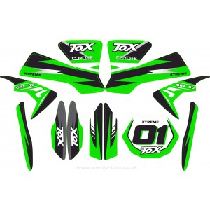 MINI DIRT BIKE CRX 50 TOX STICKER KIT / DECALS / TRANSFERS IN GREEN