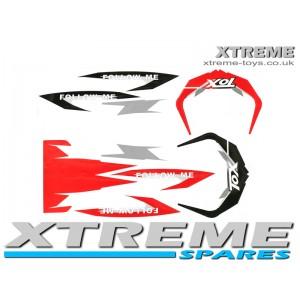 MINI DIRT BIKE CRX 50 TOX STICKER KIT / DECALS / TRANSFERS IN RED/ BLACK