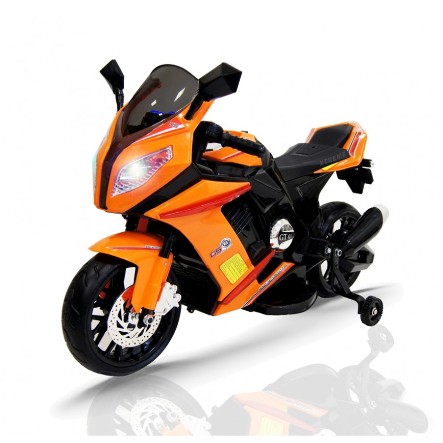 12v Xtreme Electric Motorbike Ride On Car In Orange Xtreme