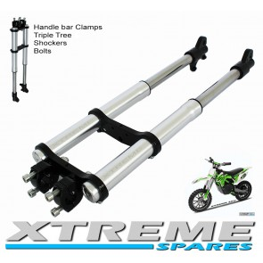 MINI DIRT BIKE COMPLETE FRONT FORKS SHOCKERS TRIPLE TREE HANDLE BAR CLAMPS