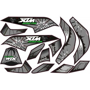 MINI QUAD BIKE XTM MONSTER STICKER KIT / DECALS / TRANSFERS IN SILVER