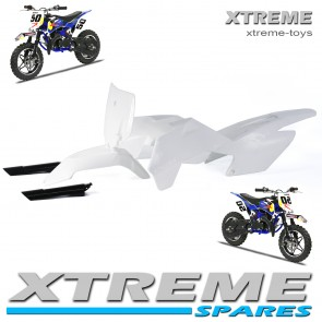 MINI SUPERCROSS DIRT BIKE COMPLETE PLASTICS KIT WITH FORK COVERS