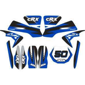 MINI DIRT BIKE XTM CRX 50 STICKER KIT / DECALS / TRANSFERS IN BLUE