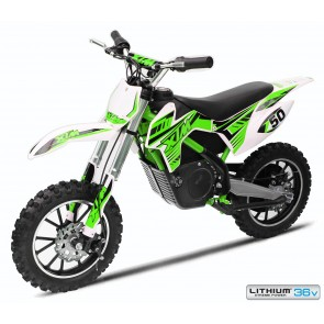 NEW XTREME 36 500w XTM DIRT BIKE IN GREEN - WITH LITHIUM BATTERIES