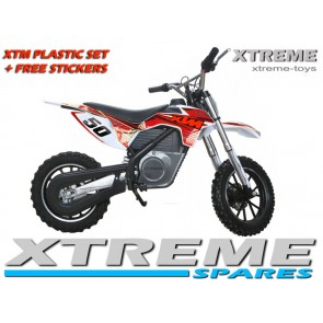 MINI DIRT MOTOR BIKE XTREME XTM FULL PLASTICS KIT + FREE RED STICKERS KIT SET
