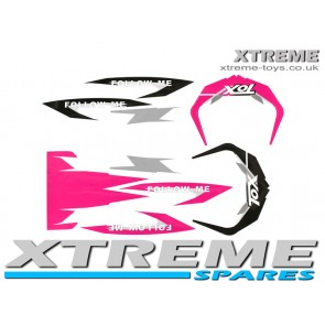 MINI DIRT BIKE CRX 50 TOX STICKER KIT / DECALS / TRANSFERS IN PINK/ BLACK