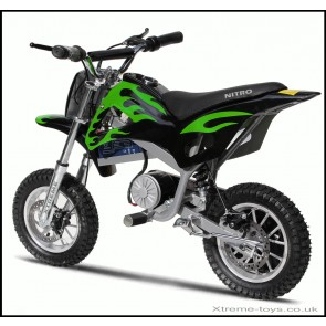 NITRO 350w DIRT BIKE IN BLACK/ GREEN