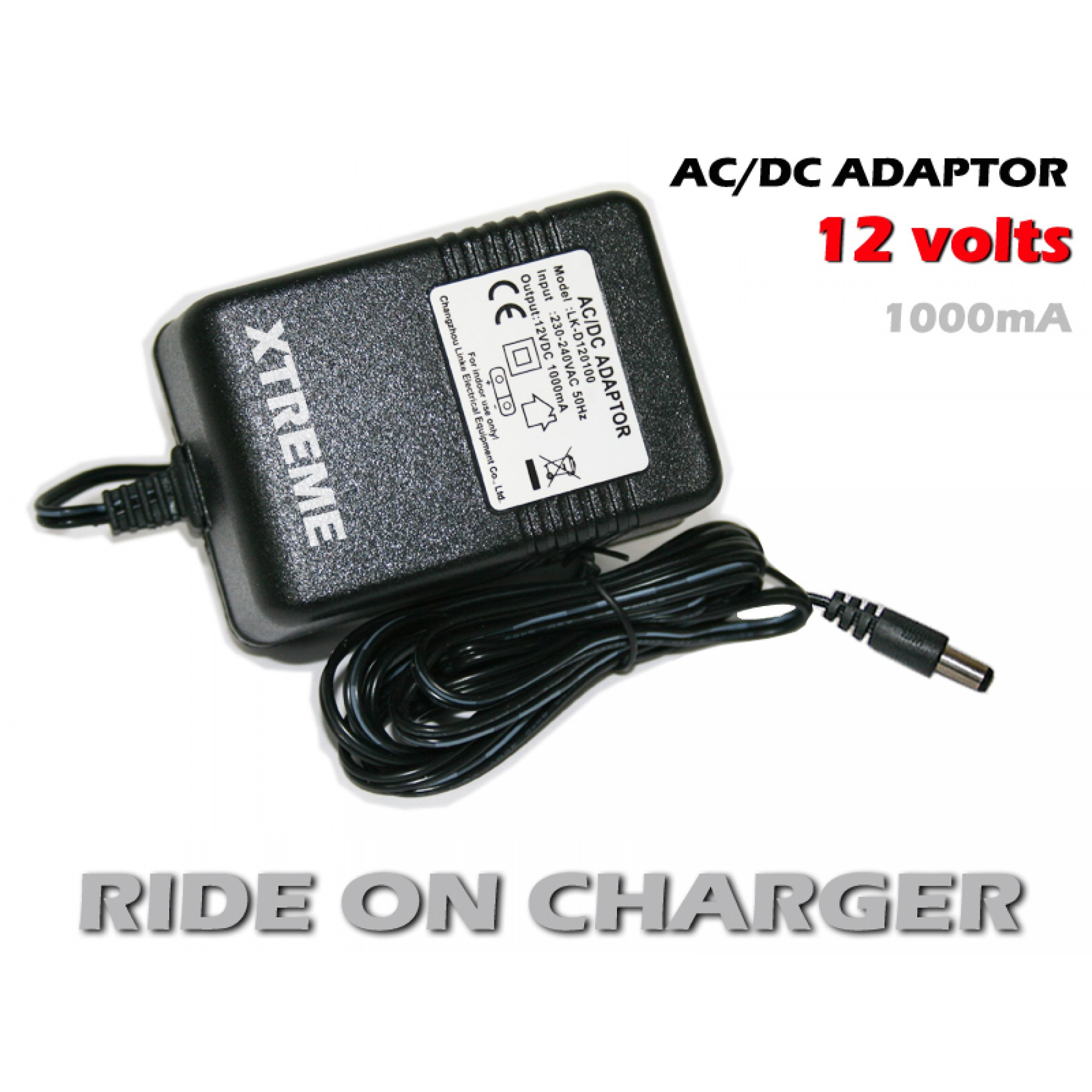LK-D120100 Childs Car HS Replacement Power Supply for Output:12VDC 1000mA Model