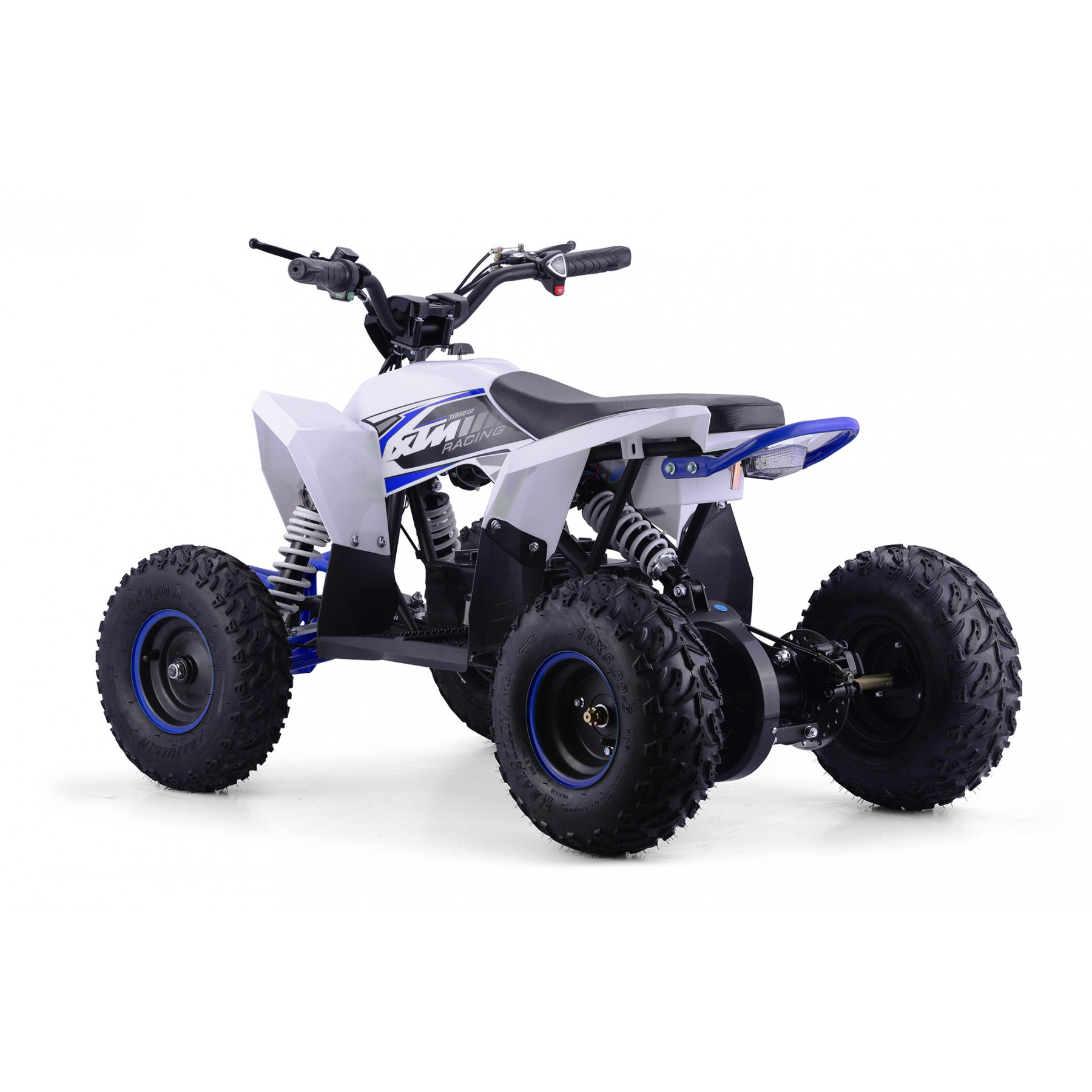 XTM RACING 48v 1300w LITHIUM QUAD BIKE WHITE BLUE