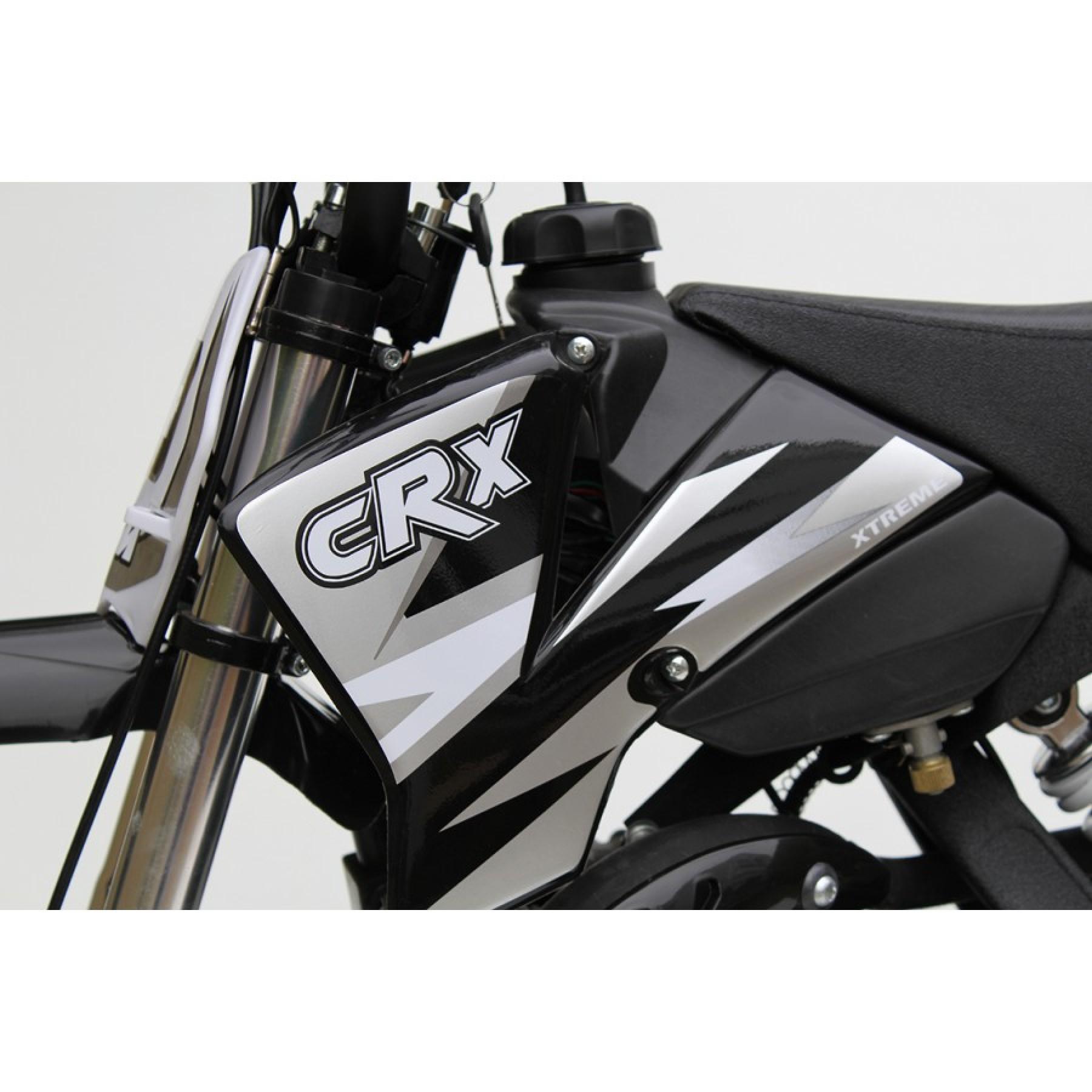 MINI DIRT BIKE XTM CRX 50 STICKER KIT / DECALS / TRANSFERS IN BLACK/ SILVER