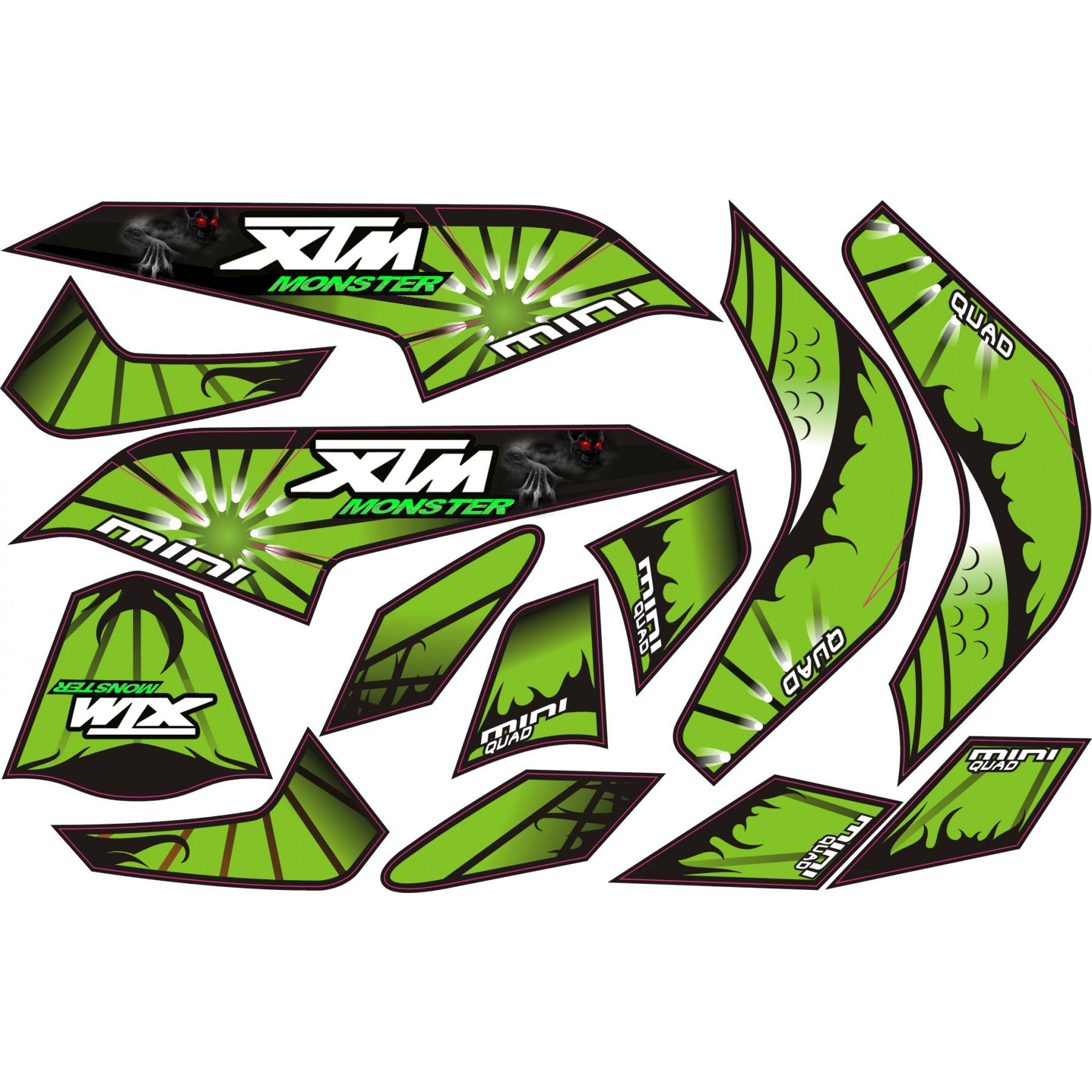 MINI QUAD BIKE XTM MONSTER STICKER KIT / DECALS / TRANSFERS IN GREEN