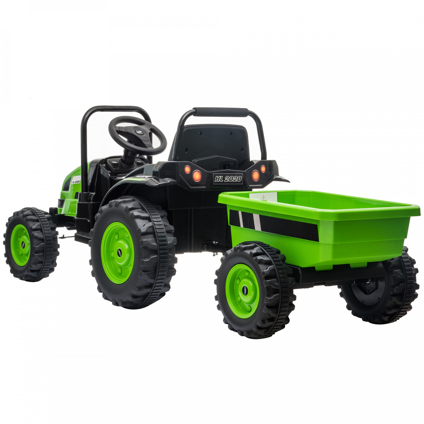 Xtreme 12V Ride on Electric Tractor With Trailer And 2.4G Remote Control Green