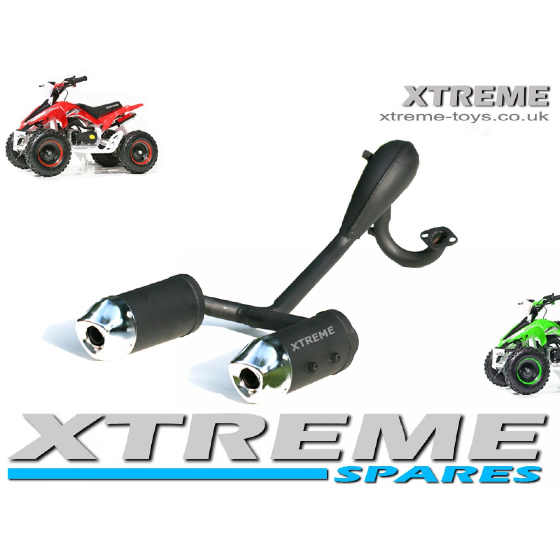 MINI MOTO / QUAD BIKE / ATV / DOUBLE TWIN EXHAUST PIPE MUFFLER CHROME 49-50cc