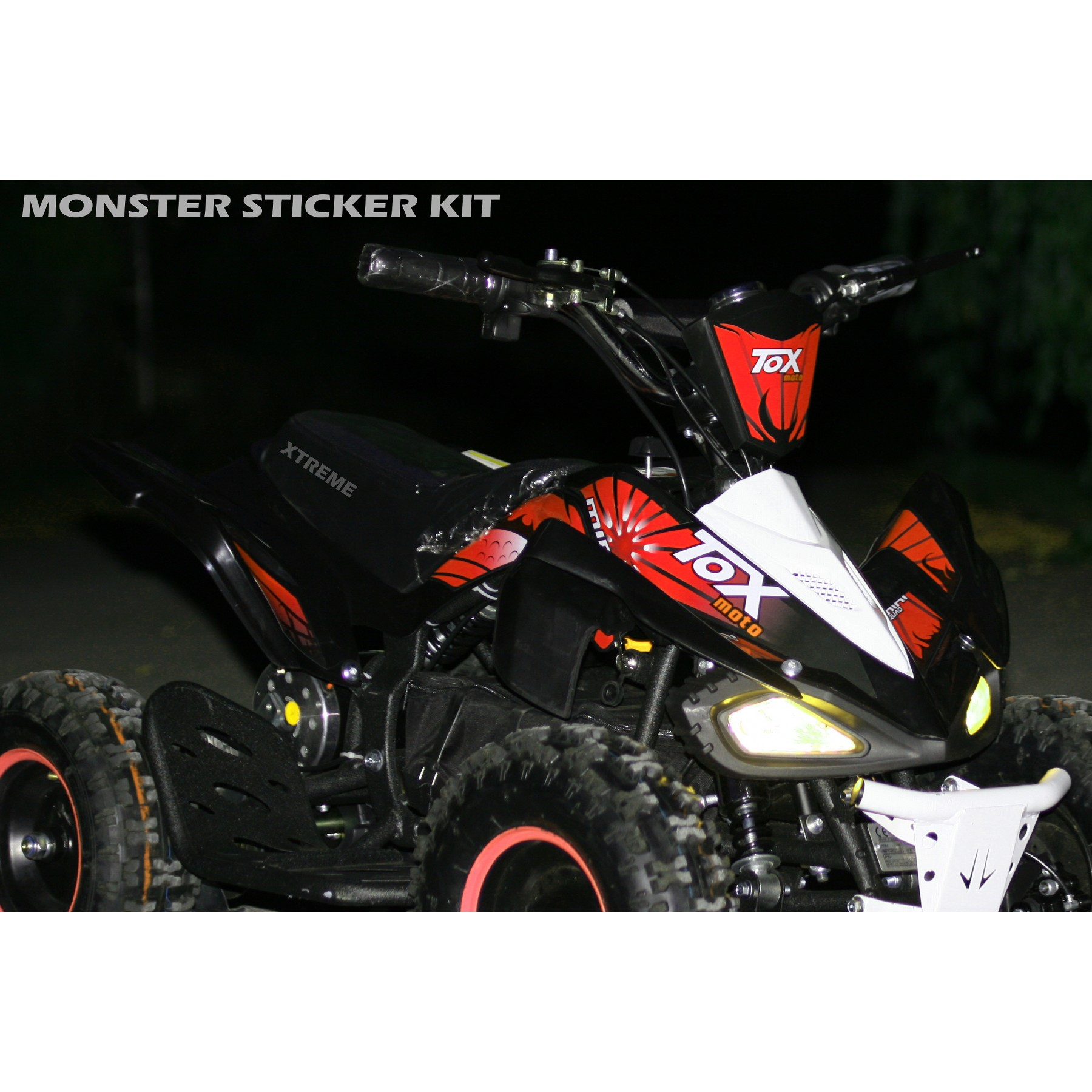 MINI QUAD BIKE STICKER KIT / DECALS / TRANSFERS / RED / GREEN / ORANGE / PINK ATV