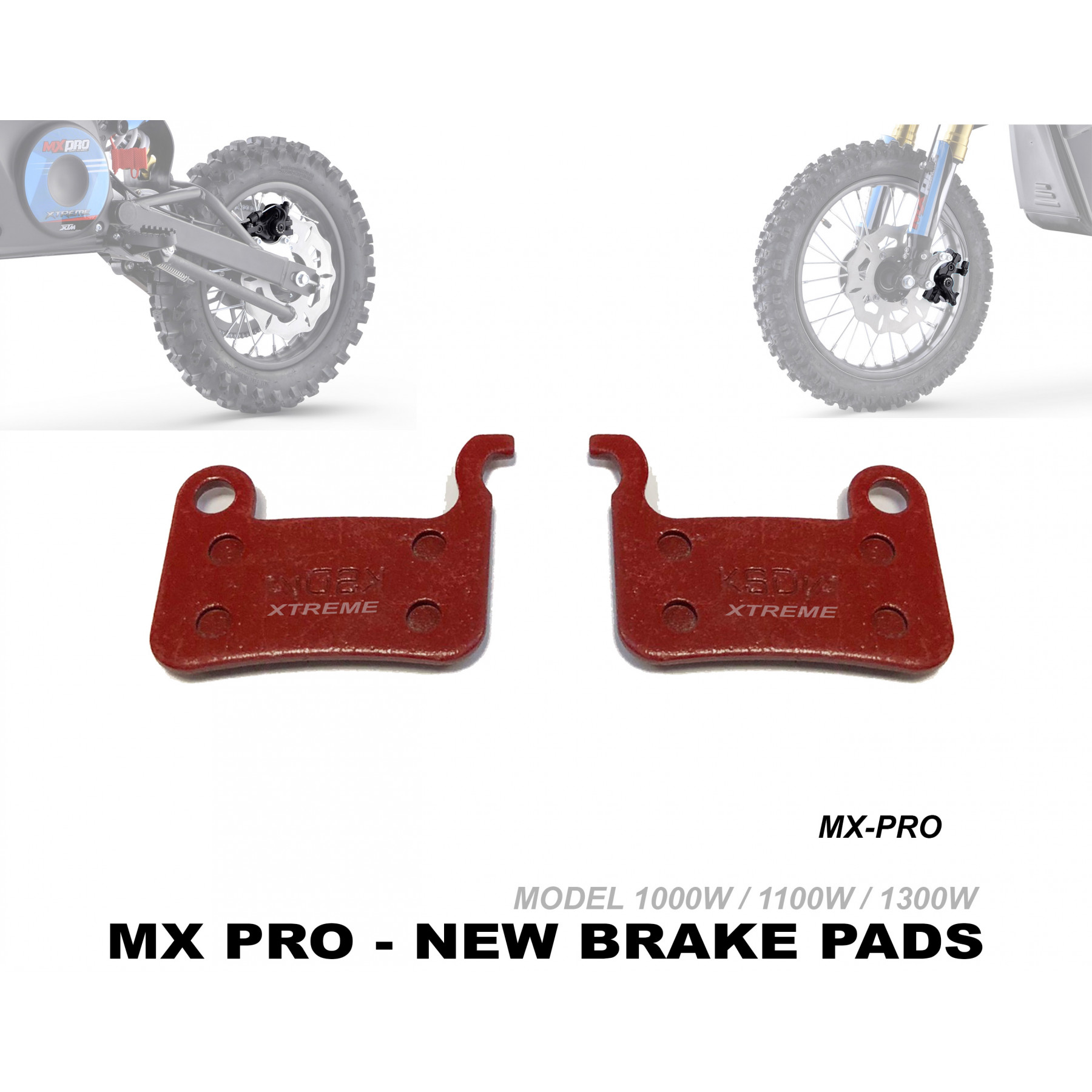 XTREME ELECTRIC XTM MX-PRO 36V REPLACEMENT FRONT AND REAR BRAKE PADS