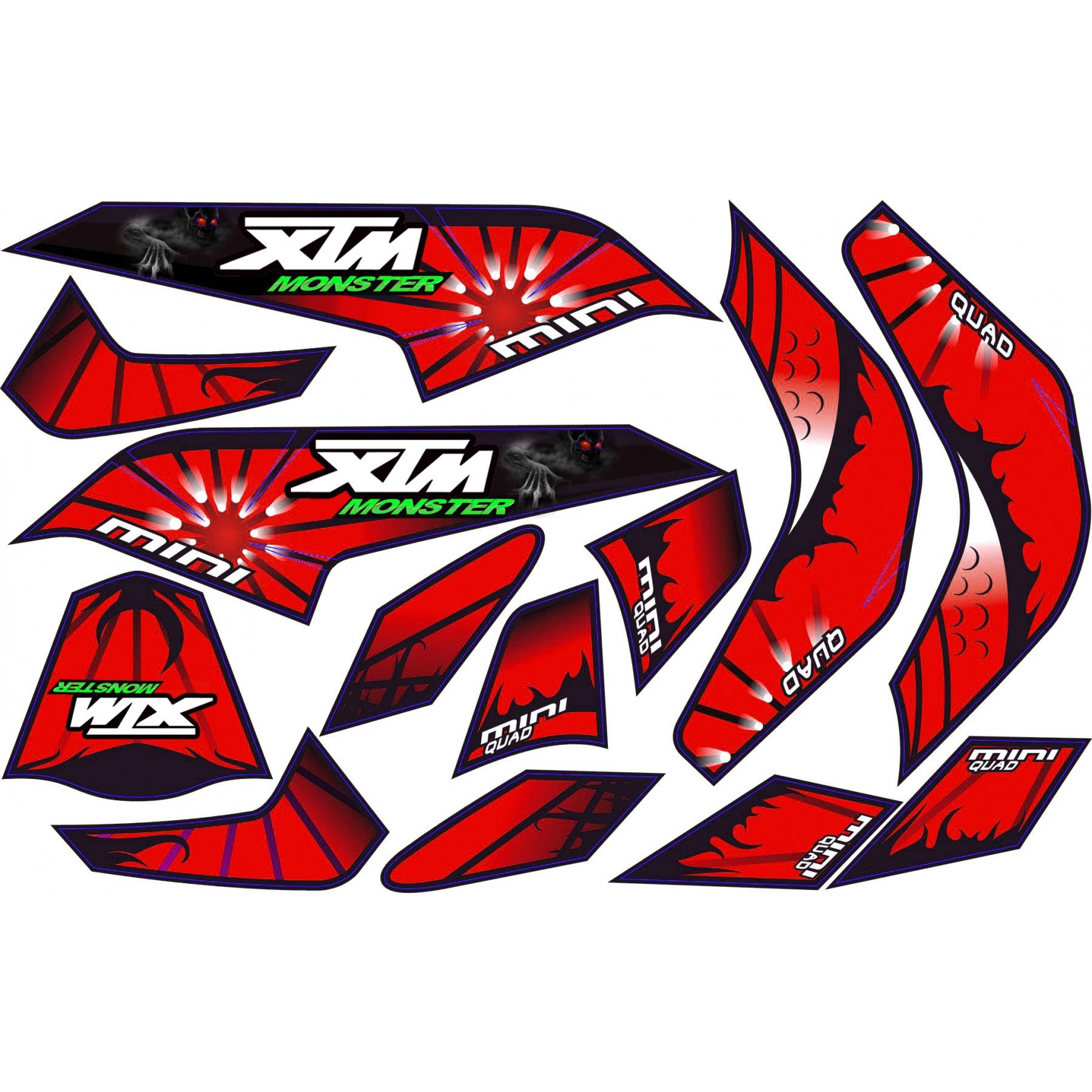 MINI QUAD BIKE XTM MONSTER STICKER KIT / DECALS / TRANSFERS IN RED