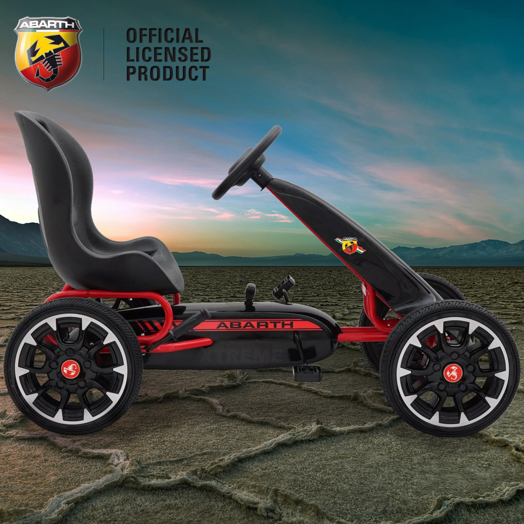 Xtreme Kids Official Licensed Abarth Pedal Go Kart with Hand Brake in Black
