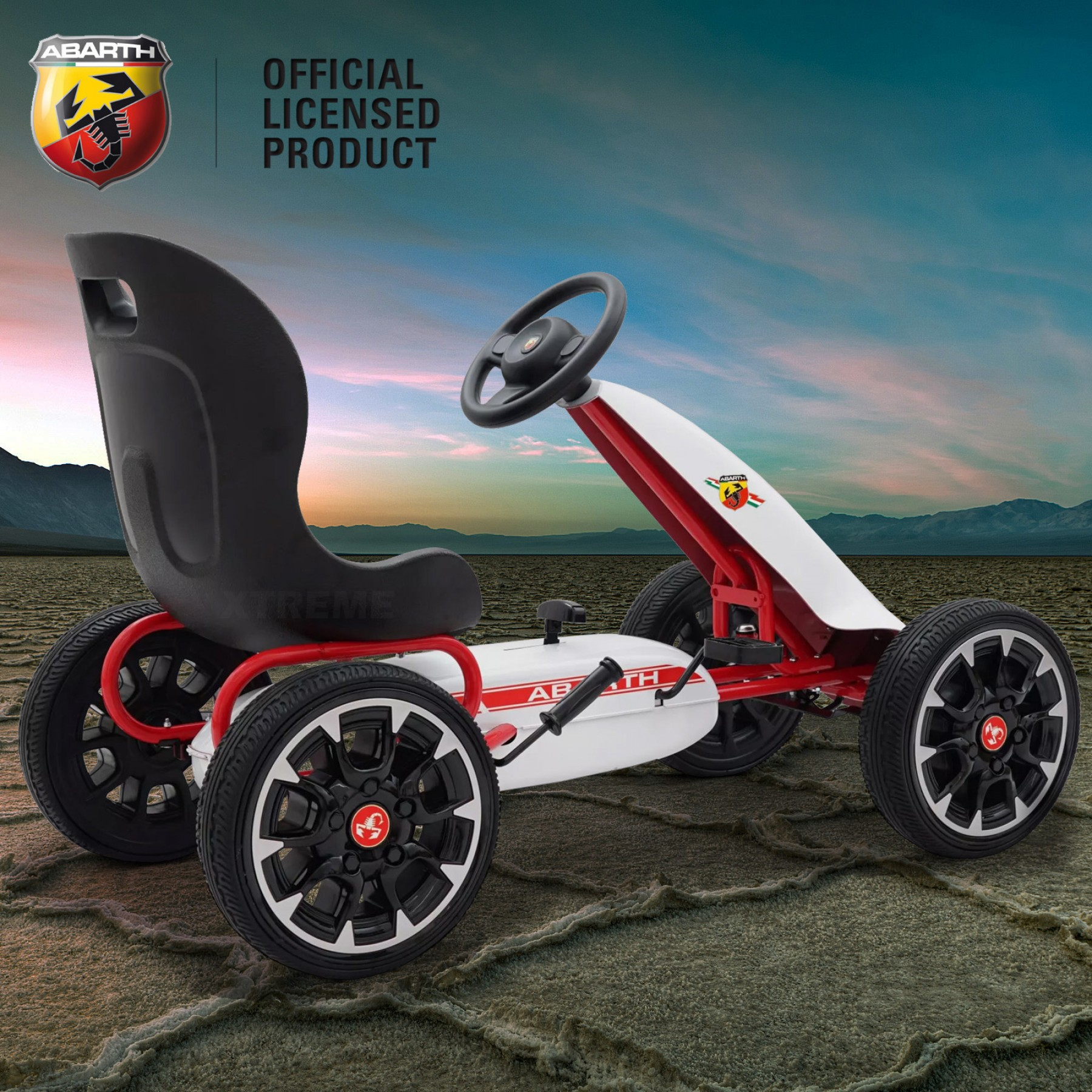 Xtreme Kids Official Licensed Abarth Pedal Go Kart with Hand Brake in White