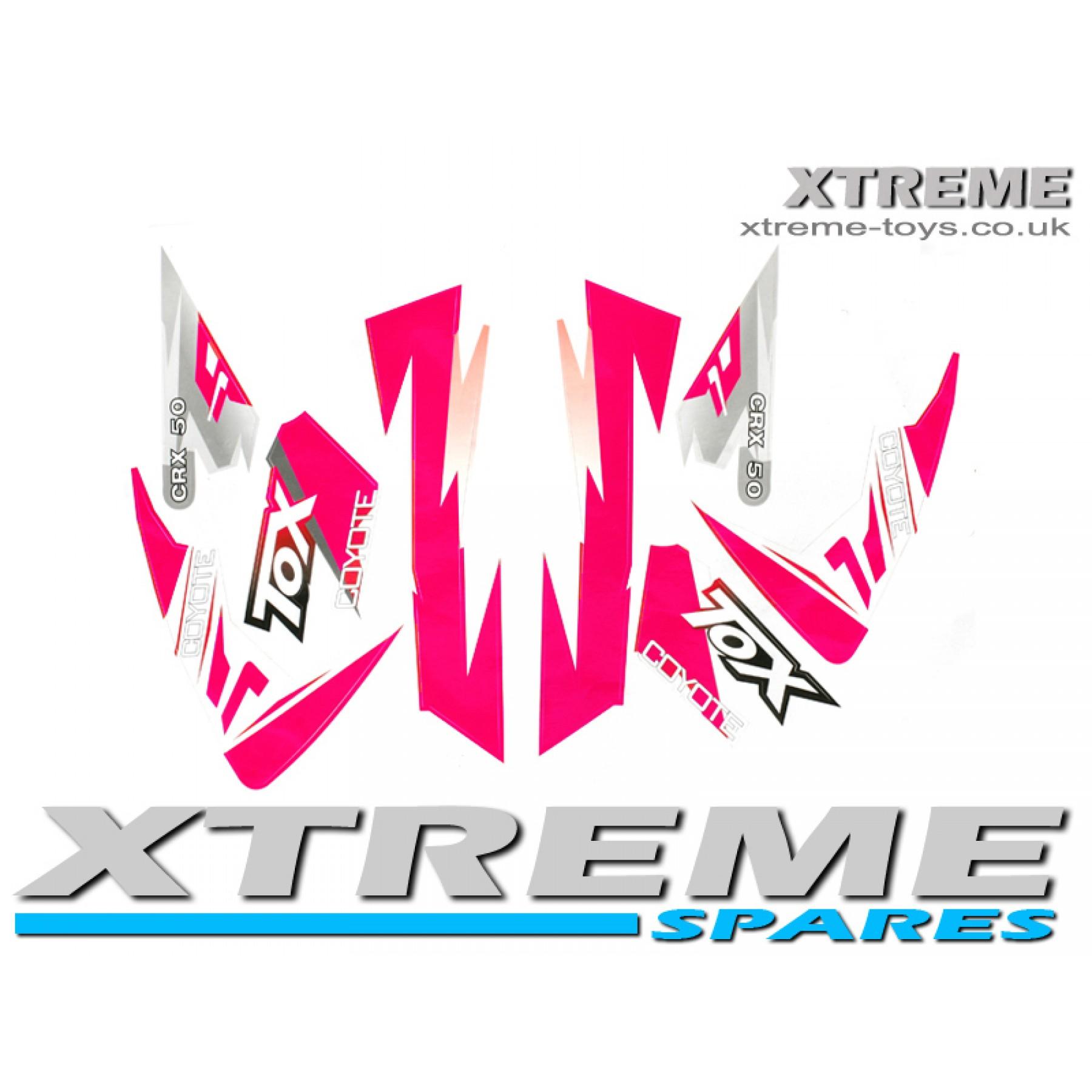 MINI DIRT BIKE CRX 50 TOX COYOTE STICKER KIT / DECALS / TRANSFERS IN PINK