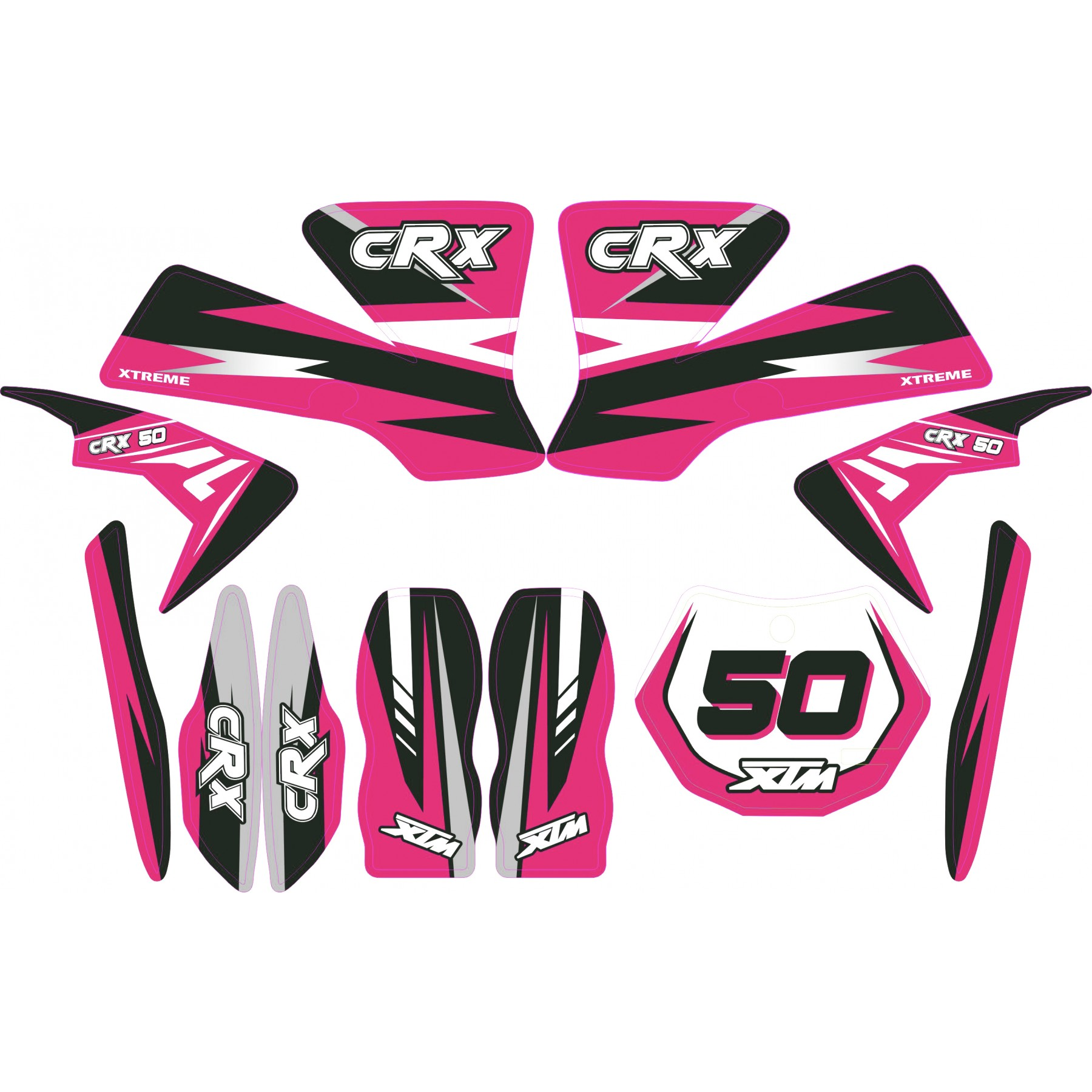MINI DIRT BIKE XTM CRX 50 STICKER KIT / DECALS / TRANSFERS IN PINK