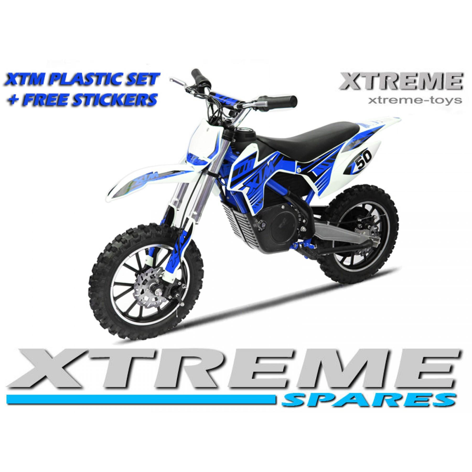 MINI DIRT MOTOR BIKE XTREME XTM FULL PLASTICS KIT + FREE BLUE STICKERS KIT SET