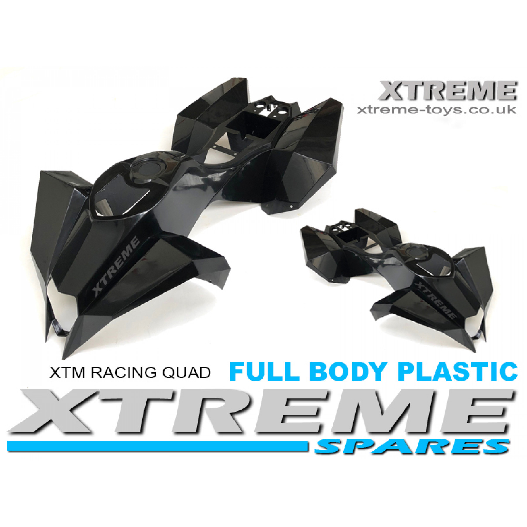 XTM RACING QUAD COMPLETE FULL BODY PLASTIC KIT BLACK