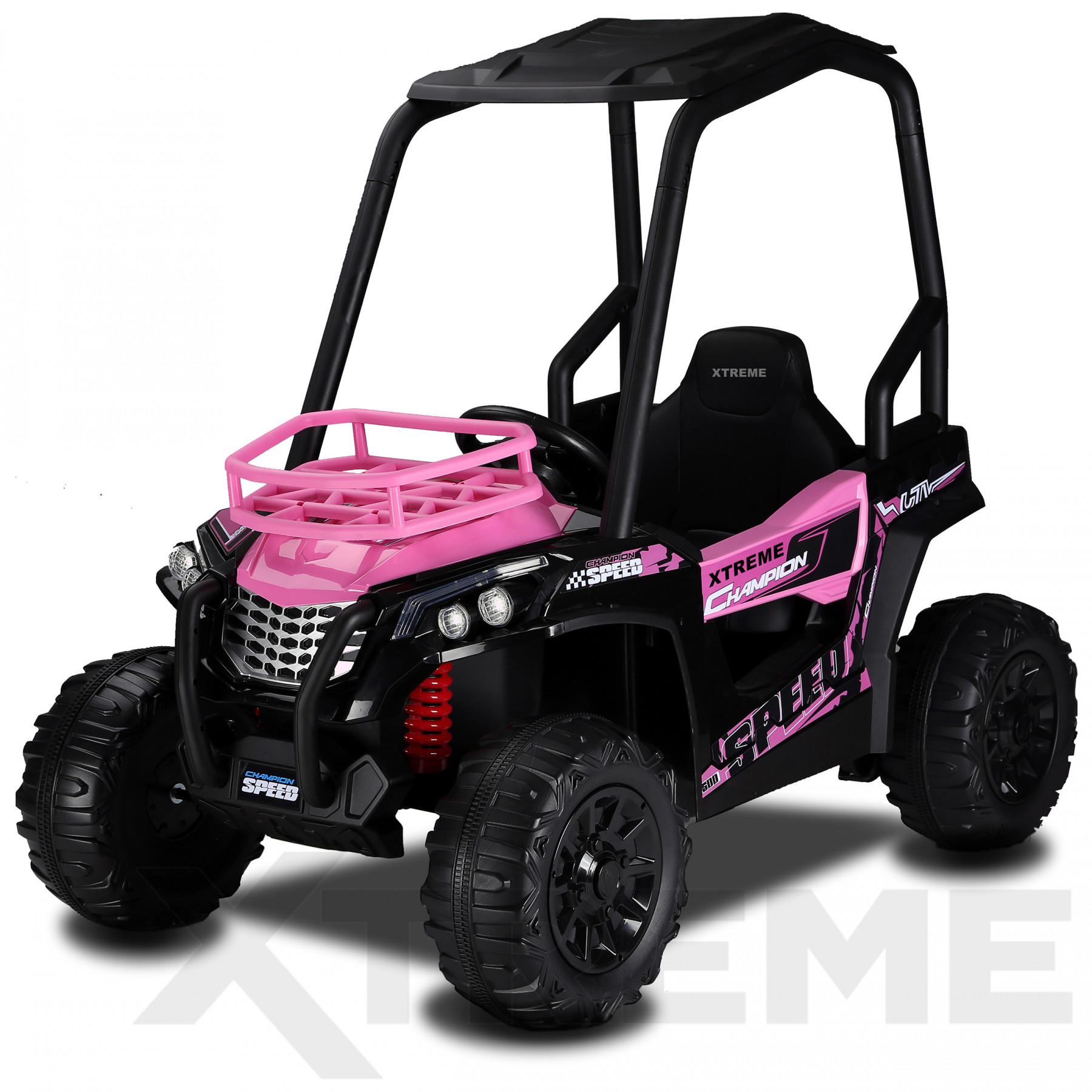 Xtreme BIG 12v Ride on Buggy Off Road UTV Jeep With Roll Cage Pink