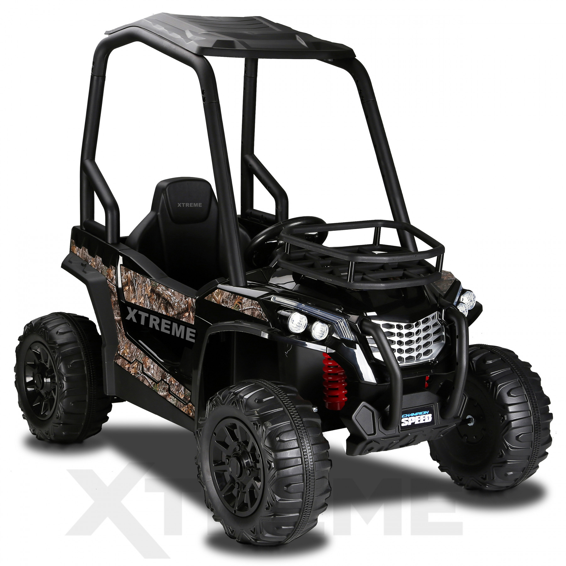 Xtreme BIG 12v Ride on Buggy Off Road UTV Jeep With Roll Cage Black