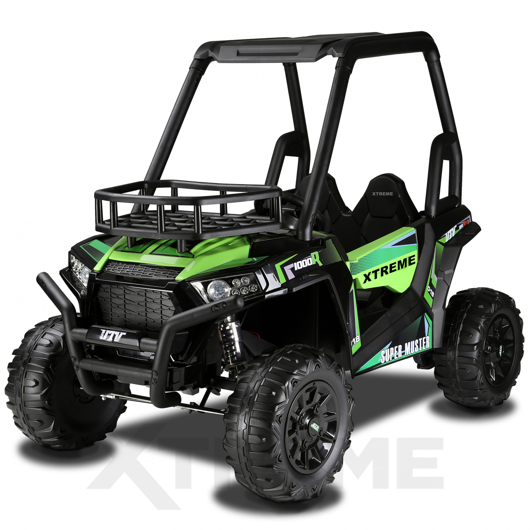 Xtreme BIG 24v Ride on Buggy Off Road UTV Two Seater Jeep With Roll Cage Green