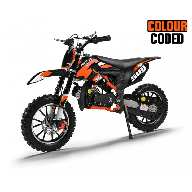XTM PRO-RIDER 50cc DIRT BIKE COLOUR-CODED BLACK ORANGE