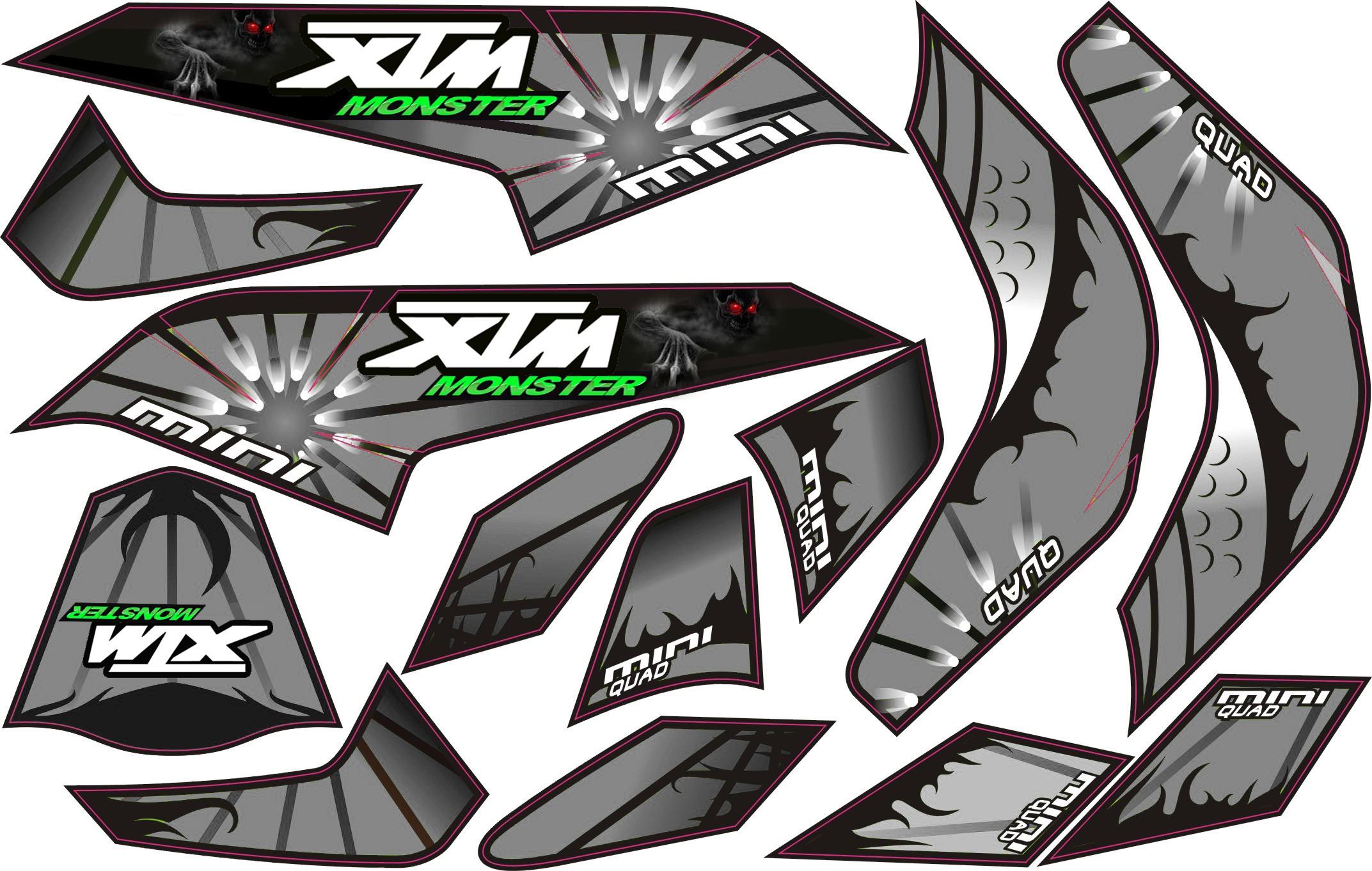 MINI QUAD BIKE XTM MONSTER STICKER KIT / DECALS / TRANSFERS IN SILVER