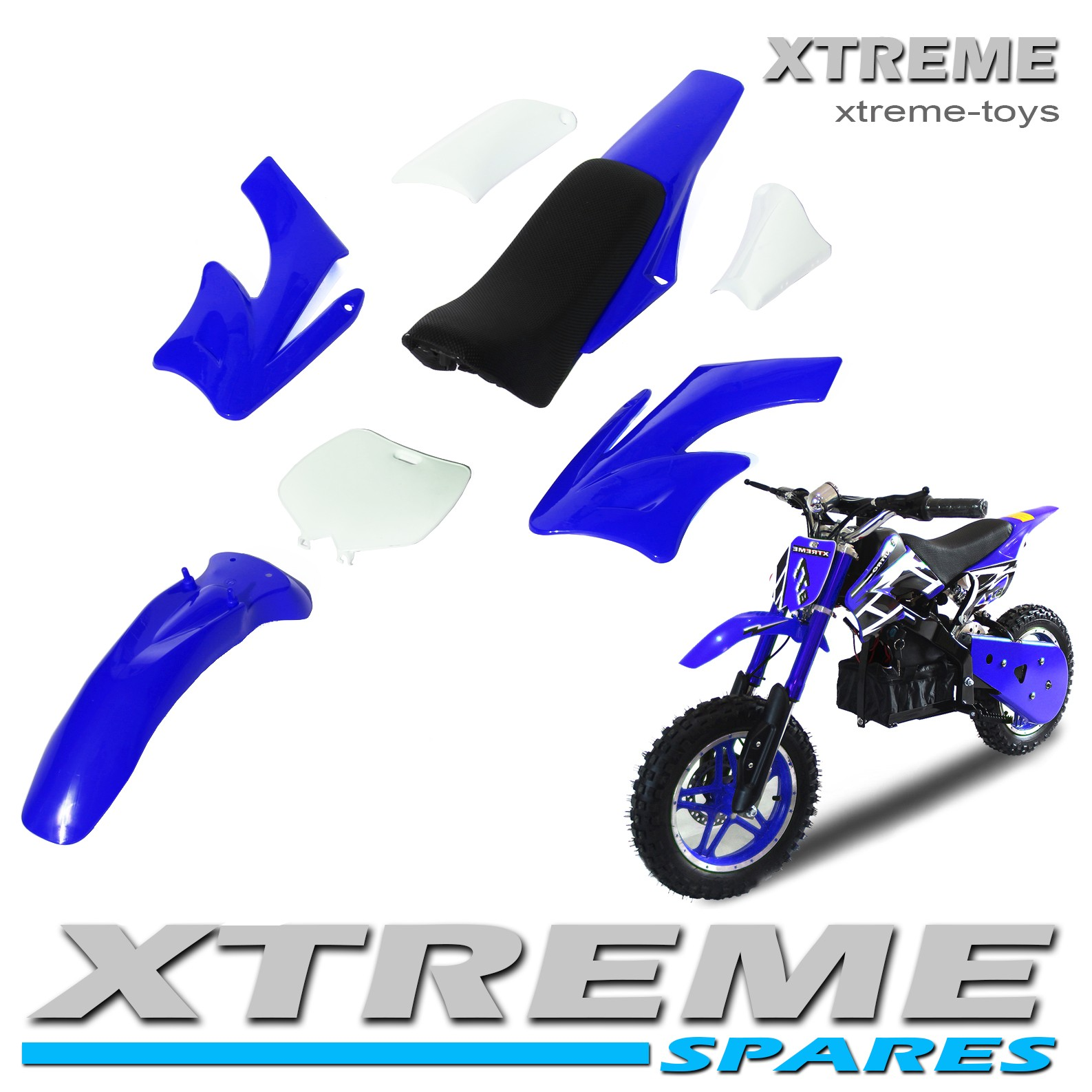 MINI NITRO DIRT BIKE / MOTOR BIKE COMPLETE BLUE PLASTICS KIT