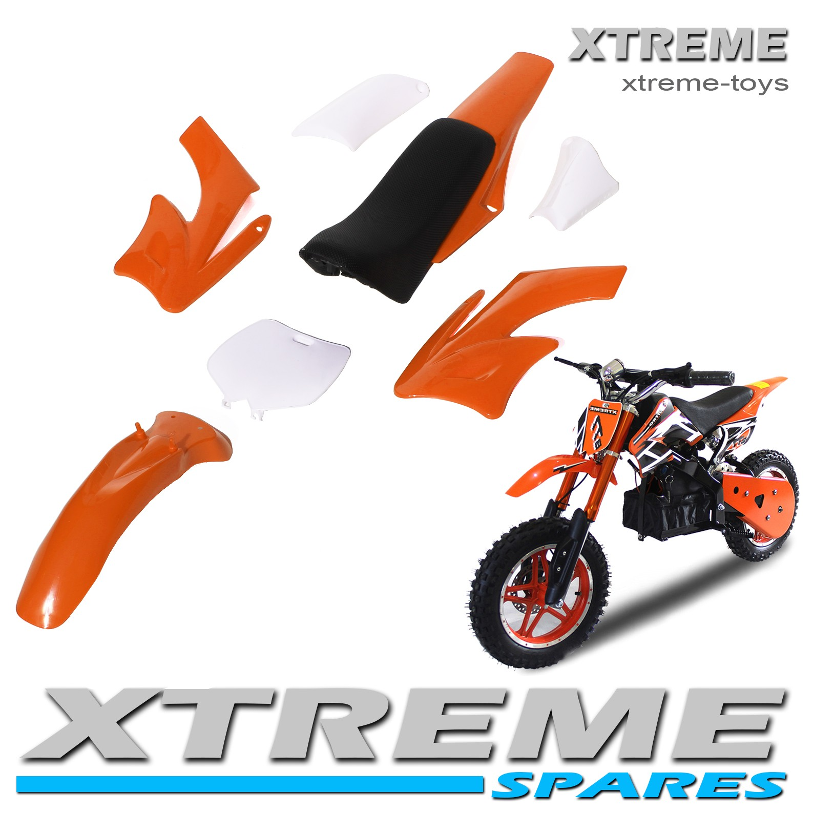 MINI NITRO DIRT BIKE / MOTOR BIKE COMPLETE ORANGE PLASTICS KIT