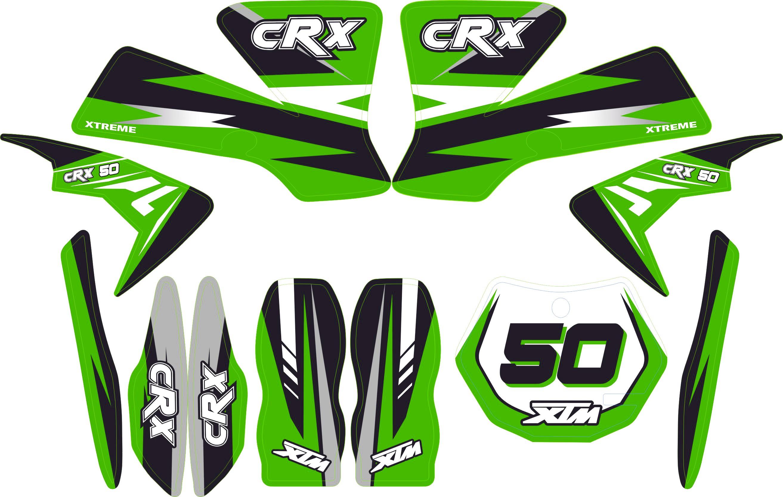 MINI DIRT BIKE XTM CRX 50 STICKER KIT / DECALS / TRANSFERS IN GREEN