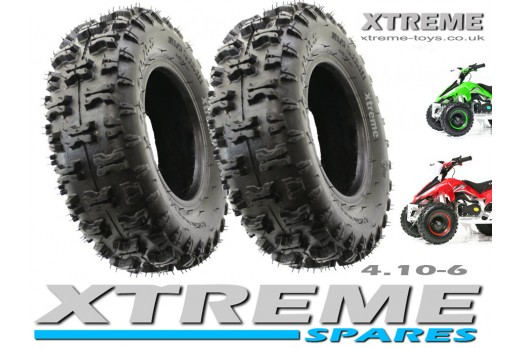 2 x MINI QUAD BIKE TYRE / MONSTER ATV / GO KART 4.10 - 6