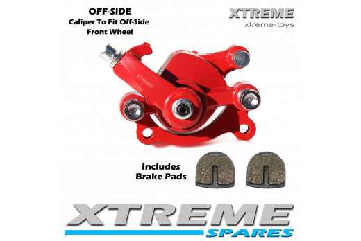 MINI MONSTER QUAD RED FRONT OFF-SIDE BRAKE CALIPER