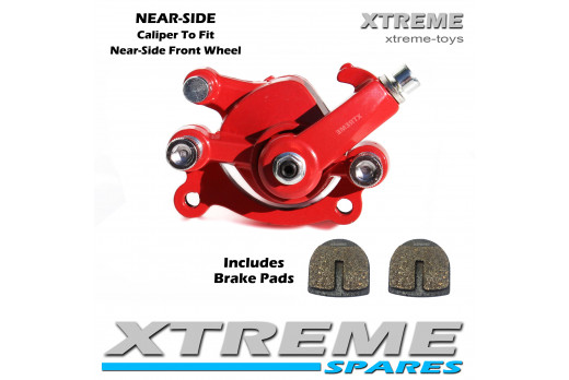 MINI MONSTER QUAD RED FRONT NEAR-SIDE BRAKE CALIPER
