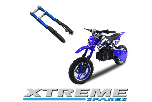 MINI DIRT BIKE COMPLETE BLUE FRONT FORKS SHOCKERS DAMPER WITH YOKES SHOCK
